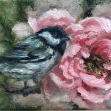 Chickadee and Pink Peony